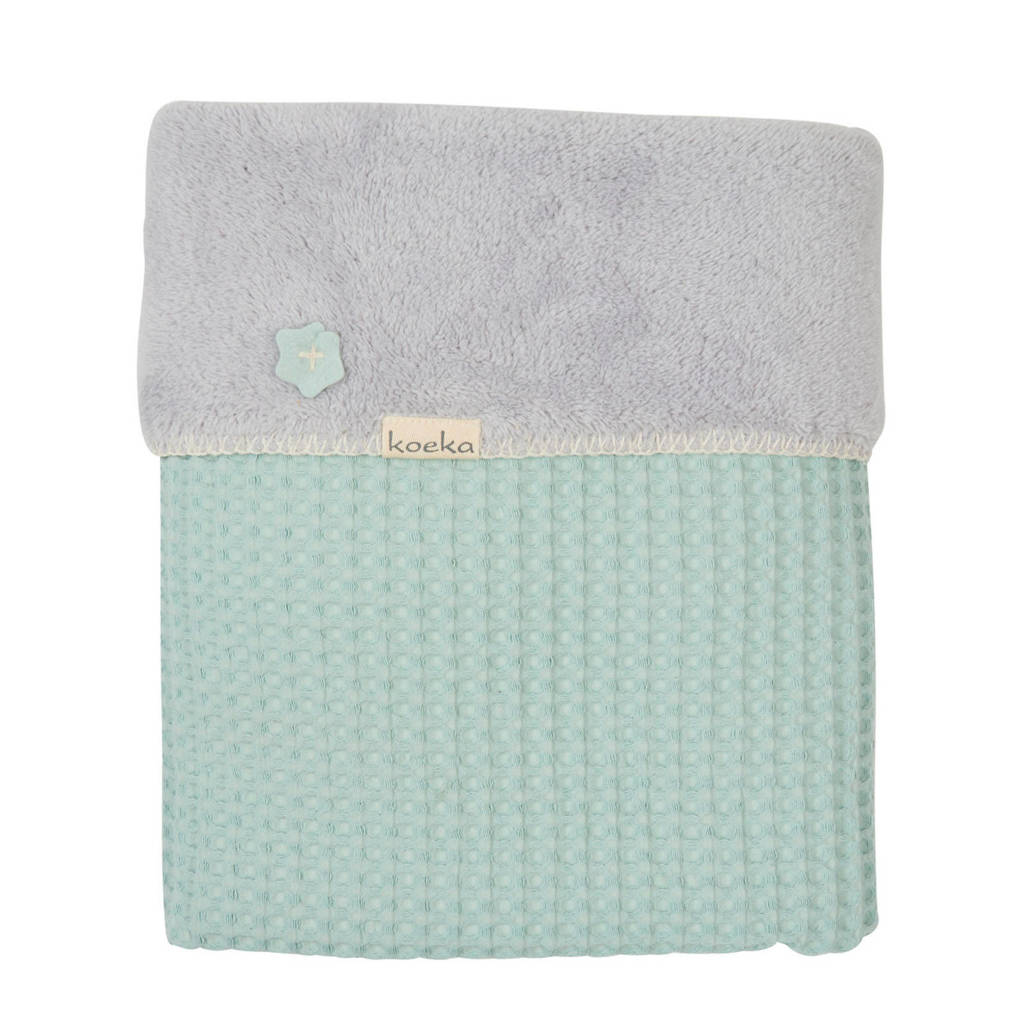 Koeka Oslo baby ledikantdeken teddy 100x150 cm Misty Mint/Silver Grey, misty mint/silver grey
