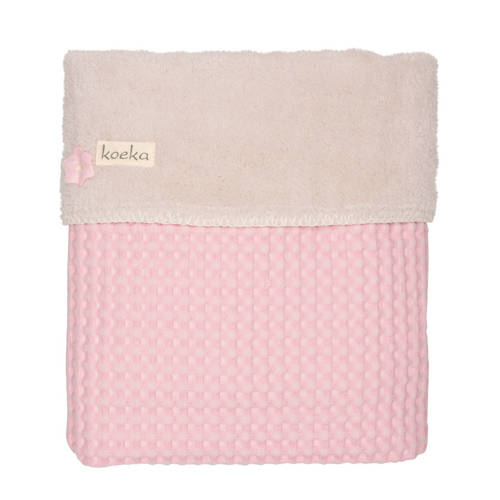 Koeka ledikantdeken wafel-teddy Oslo old baby pink-pebble
