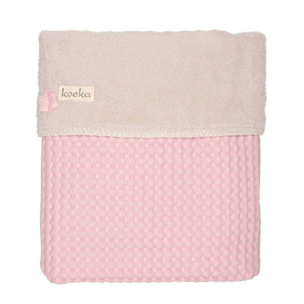 Koeka Oslo baby ledikantdeken teddy 100x150 cm Old Baby Pink/Pebble, old baby pink/pebble