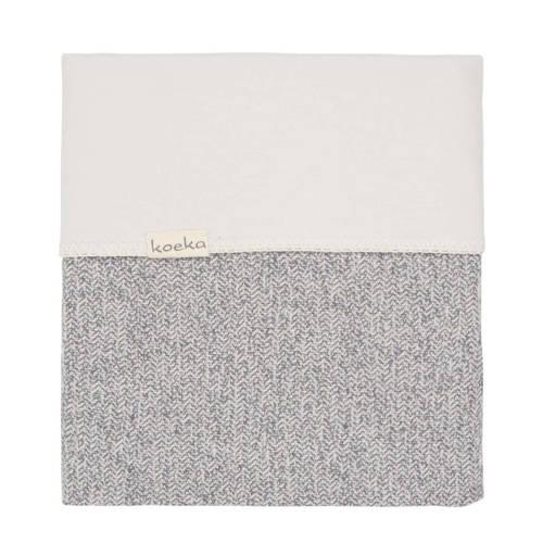 Koeka ledikantdeken Vigo flanel grijs 100x150 cm