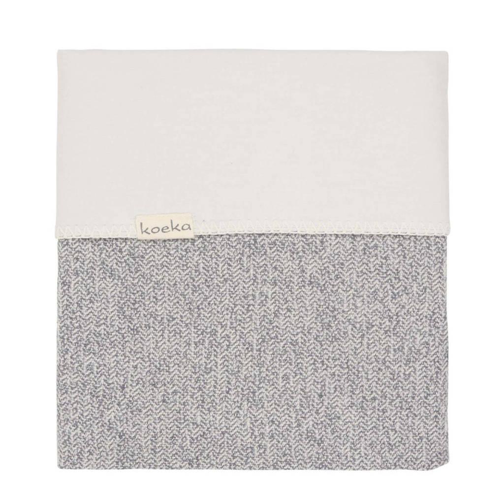 Koeka baby ledikantdeken Vigo flanel grijs 100x150 cm, sparkle grey/pebble