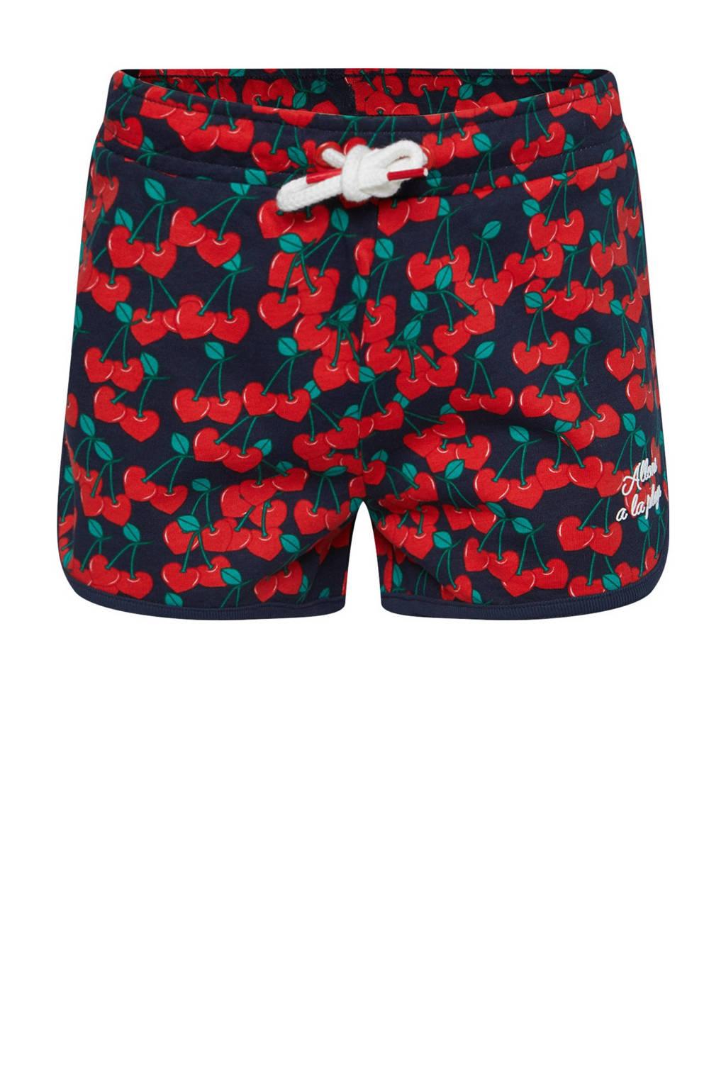 WE Fashion slim fit sweatshort met all over print en borduursels donkerblauw/rood, Donkerblauw/rood