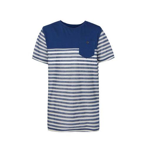 WE Fashion gestreept regular fit T-shirt blauw/wit