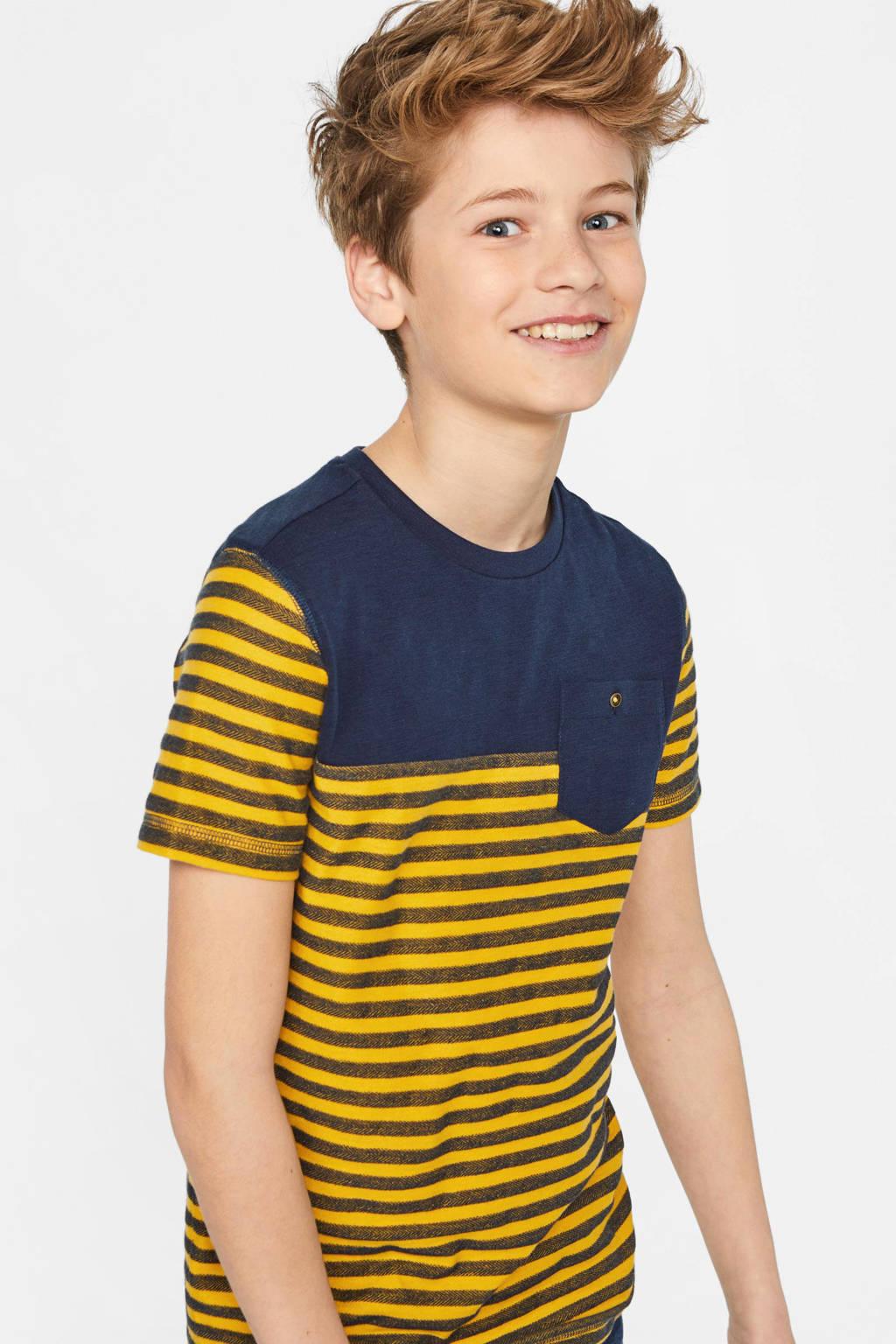 WE Fashion gestreept regular fit T-shirt geel/donkerblauw, Geel/donkerblauw
