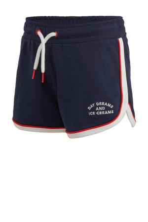 slim fit short met zijstreep donkerblauw