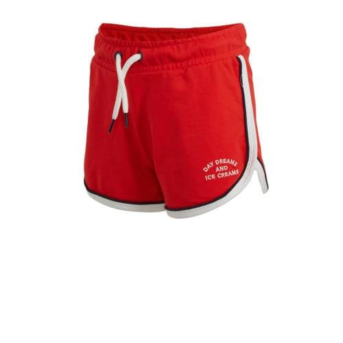 WE Fashion slim fit short met zijstreep rood