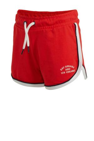 slim fit short met zijstreep rood