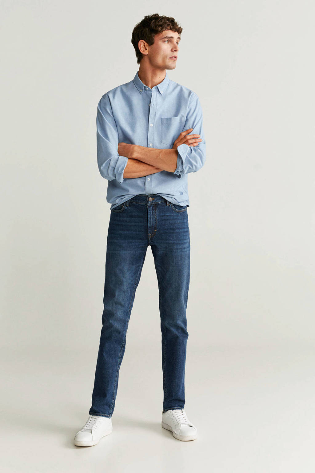 Mango Man gemêleerd regular fit overhemd blauw, Blauw