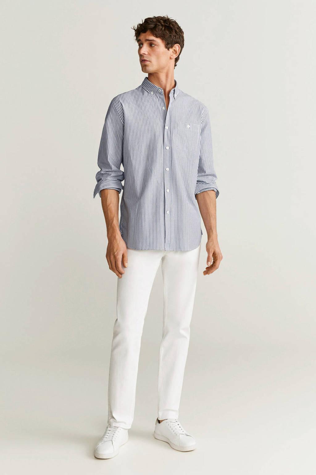 Mango Man gestreept slim fit overhemd antraciet, Antraciet