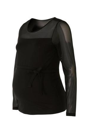 zwangerschapslongsleeve met mesh zwart
