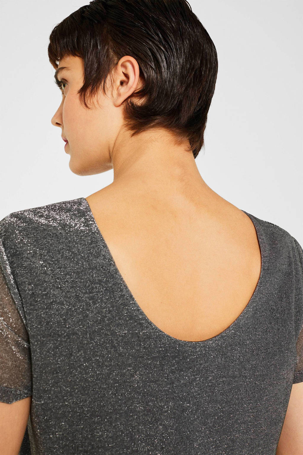 edc Women top shine scoop bk met glitters grijs, Grijs