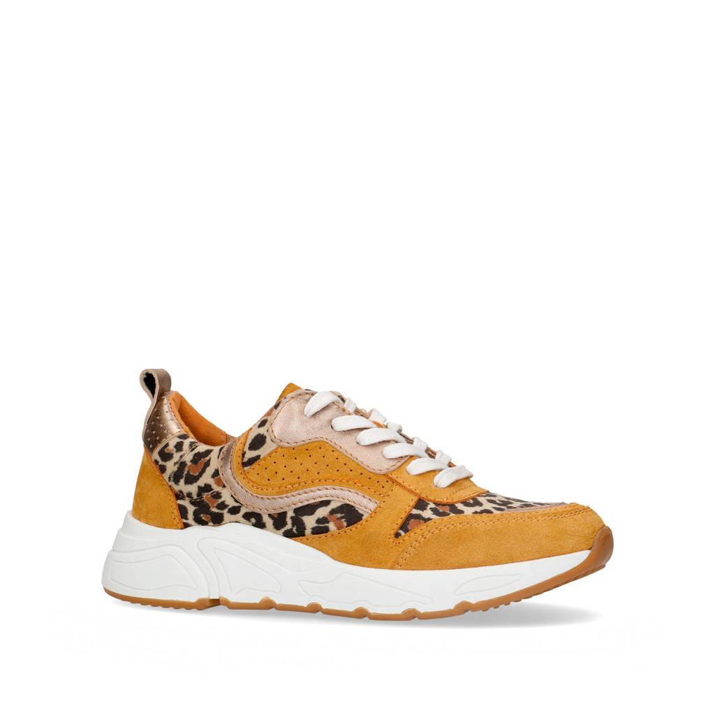 Sacha   suède sneakers okergeel/panterprint, Okergeel/goud