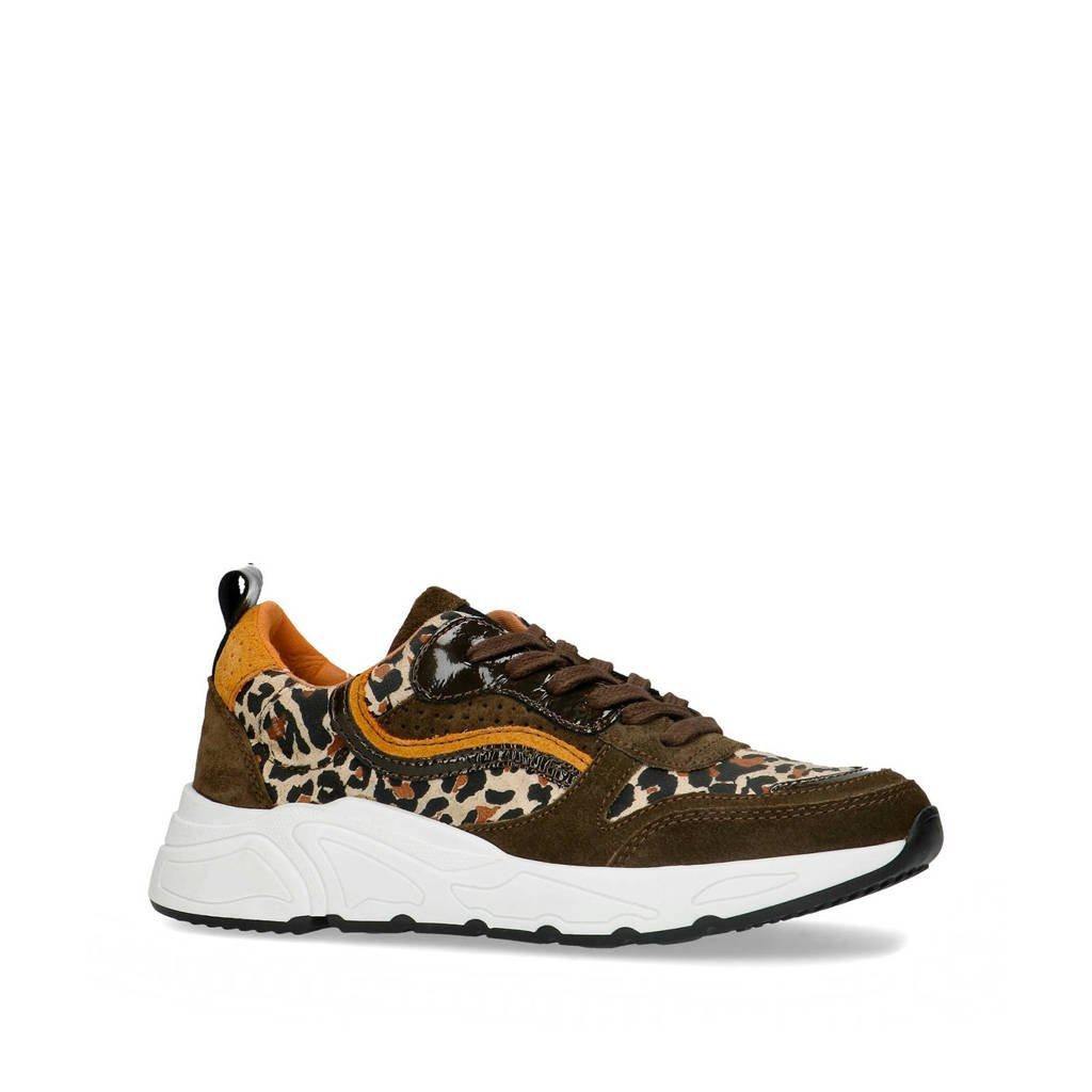 Sacha   suède sneakers groen/panterprint, Groen/Okergeel/Bruin