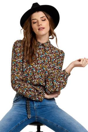 gebloemde blouse bruin/multikleuren