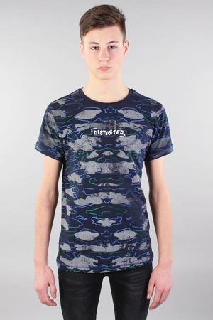 T-shirt met all over print donkerblauw/grijs