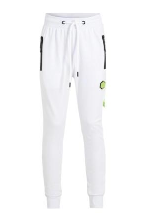 regular fit joggingbroek met zijstreep wit/neon geel