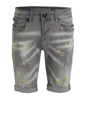 jeans bermuda met slijtage grijs