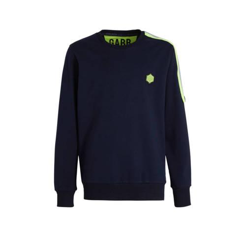GABBIANO sweater met contrastbies donkerblauw/neon