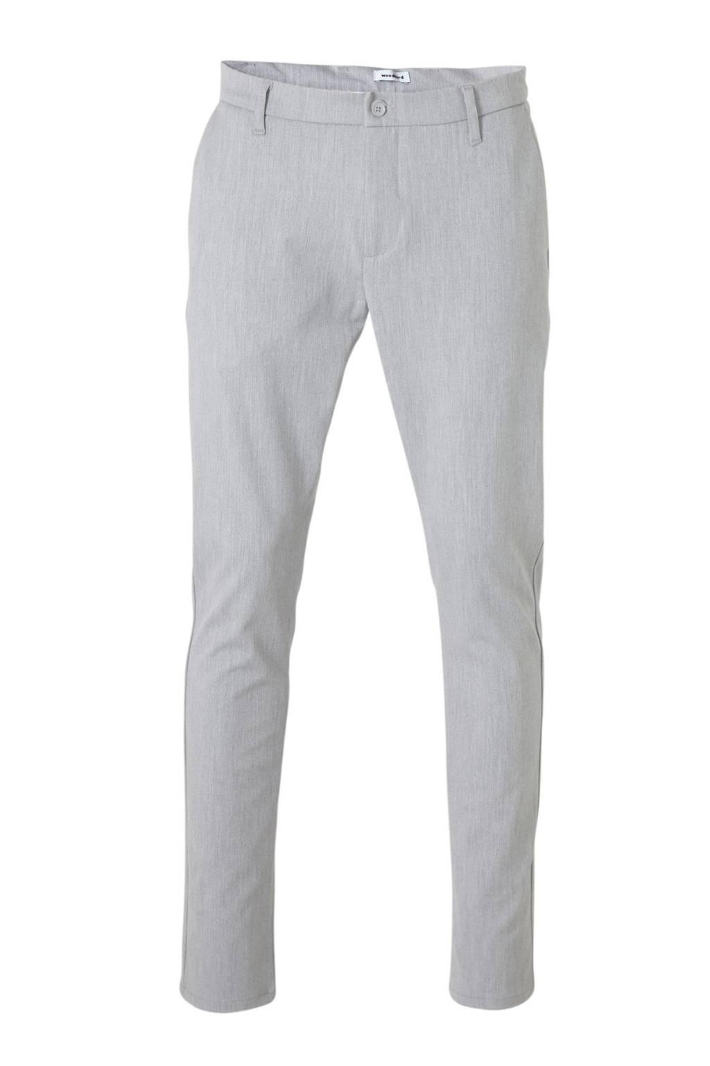 Woodbird slim fit pantalon grijs, Grijs