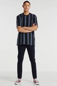 Woodbird gestreept T-shirt zwart, Zwart