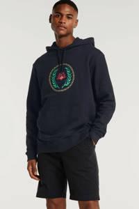 Woodbird hoodie met printopdruk zwart, Zwart