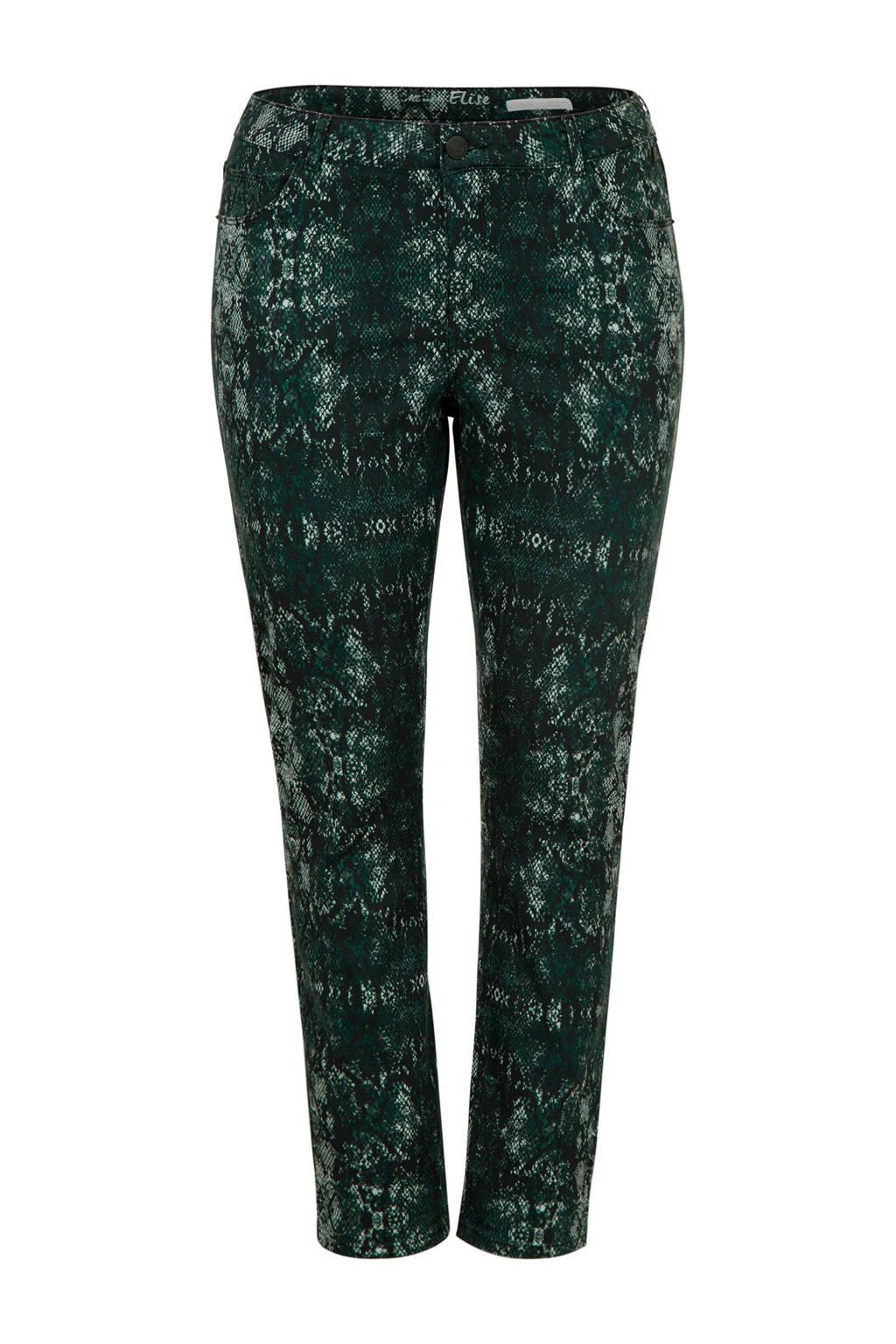 Miss Etam Plus slim fit broek met all over print groen, Groen