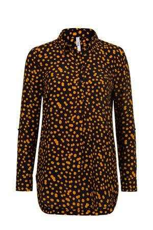 blouse met all over print oranje