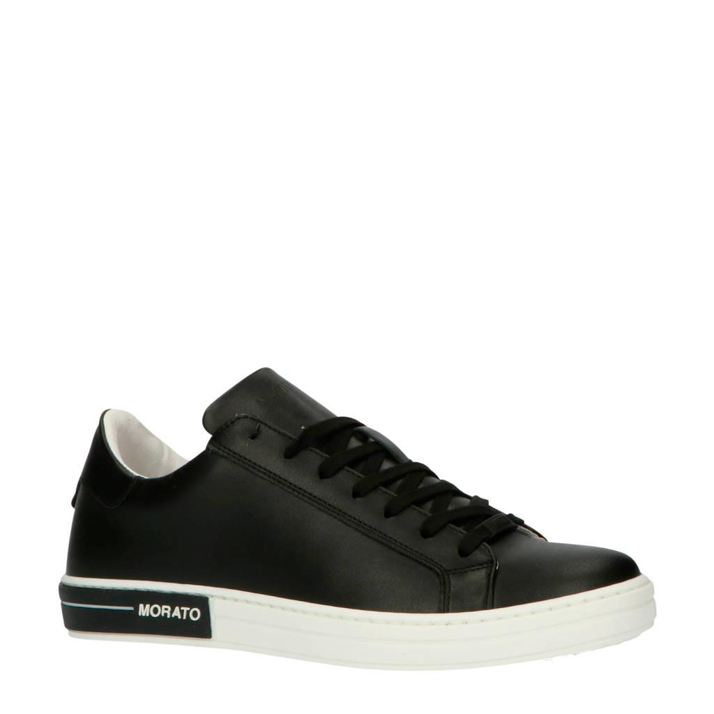 Antony Morato   leren sneakers zwart, Zwart