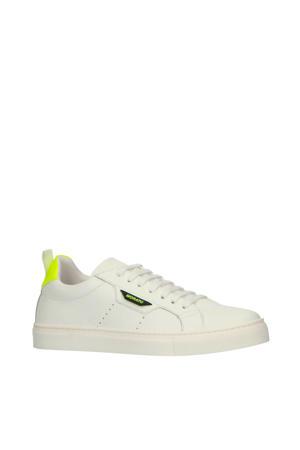leren sneakers wit/neon geel