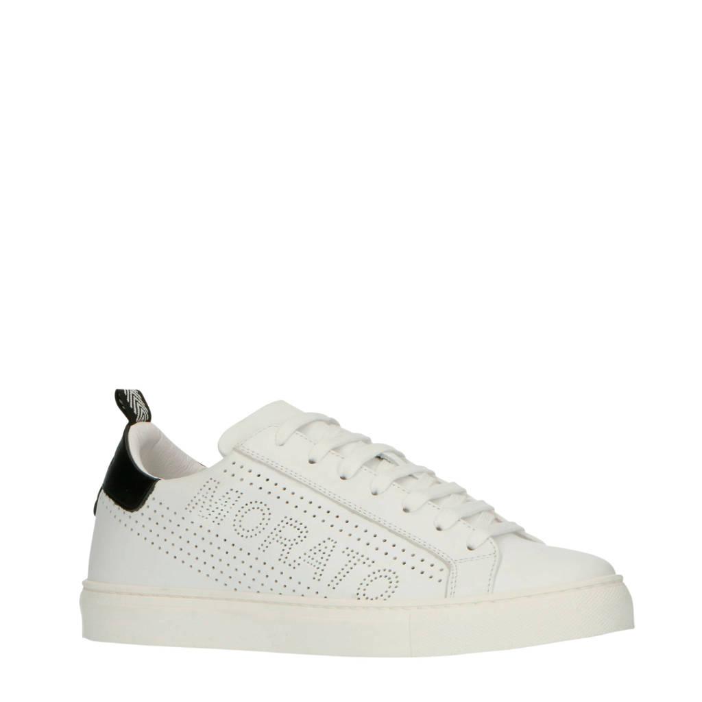 Antony Morato   leren sneakers wit/zwart, Wit/zwart