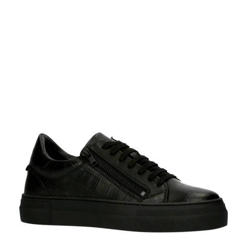 Antony Morato leren sneakers crocoprint zwart