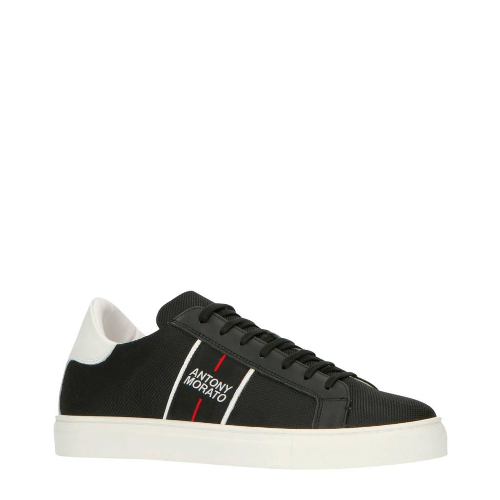 Antony Morato   leren sneakers zwart, Zwart/wit
