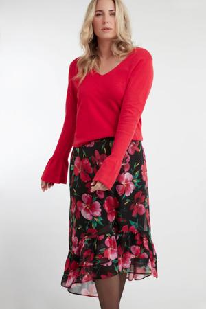 gebloemde rok zwart/roze/groen