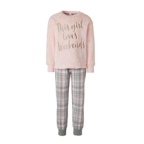 C&A Here & There pyjamabroek en sweater lichtroze-grijs-goud