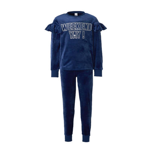 C&A Here & There pyjamabroek en longsleeve donkerblauw-zilver