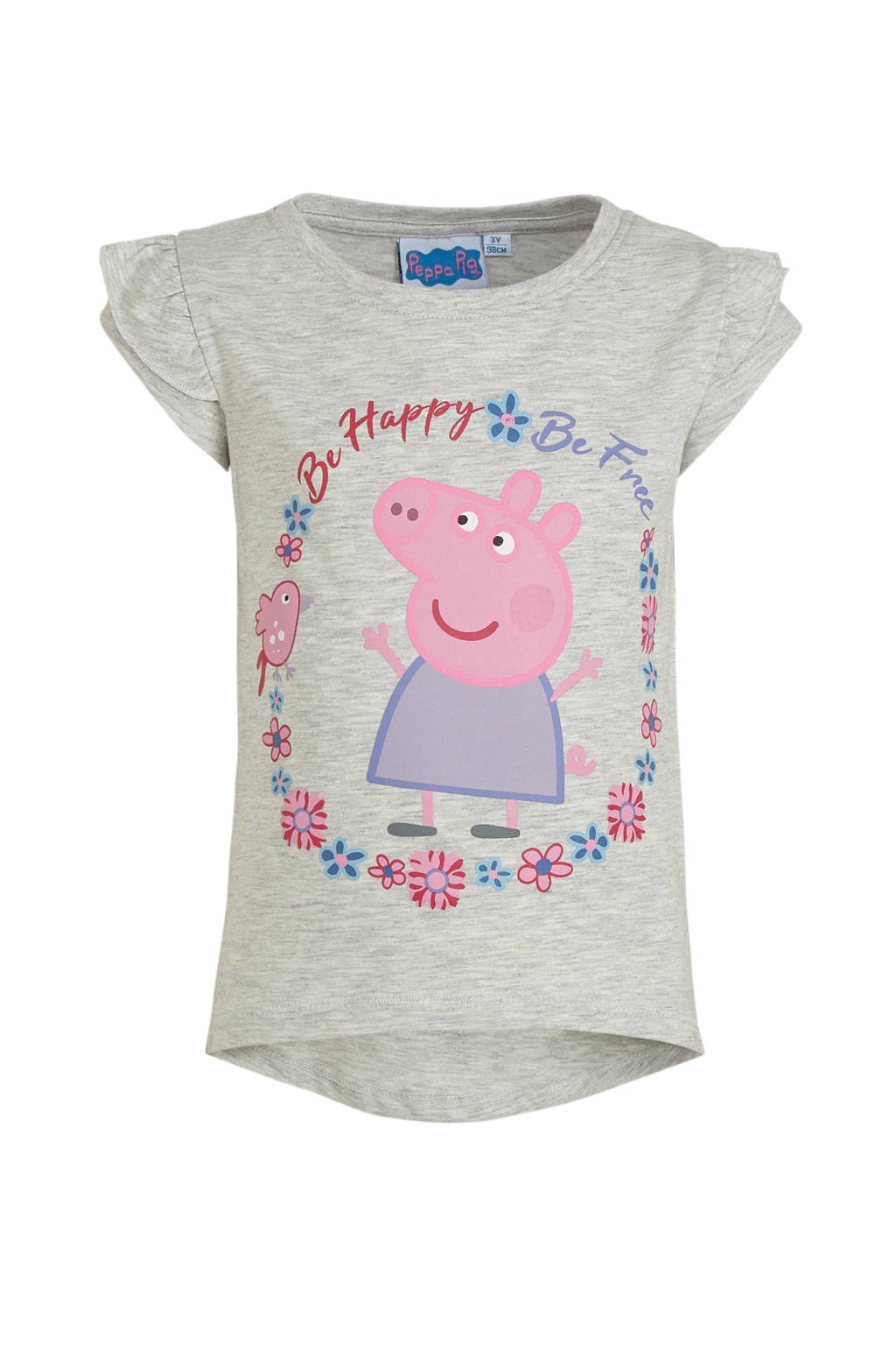 Peppa Pig T-shirt met printopdruk grijs melange/roze/paars, Grijs melange/roze/paars