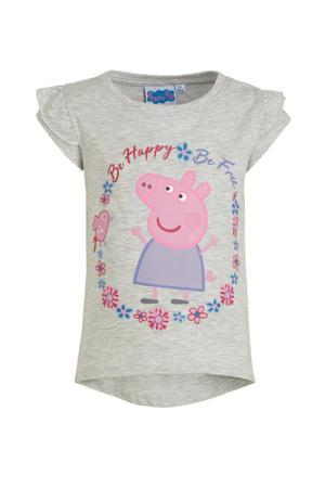 Peppa Pig T-shirt met printopdruk grijs melange/roze/paars