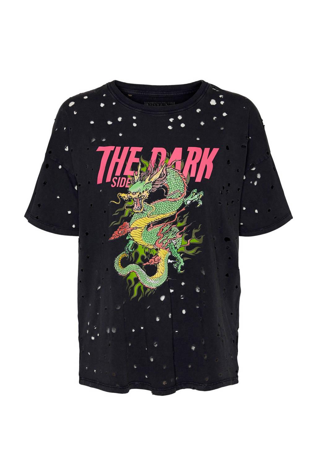 NOISY MAY T-shirt met printopdruk en open detail zwart, Zwart