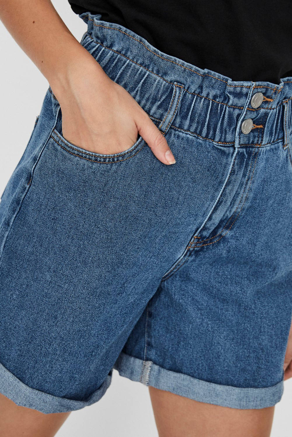 NOISY MAY high waist jeans short blauw