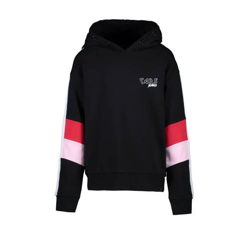 Cars hoodie Sawisa met contrastbies zwart/rood/roz