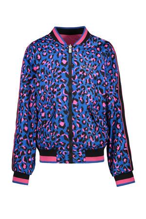 reversible zomerjas Calynn met panterprint blauw/roze