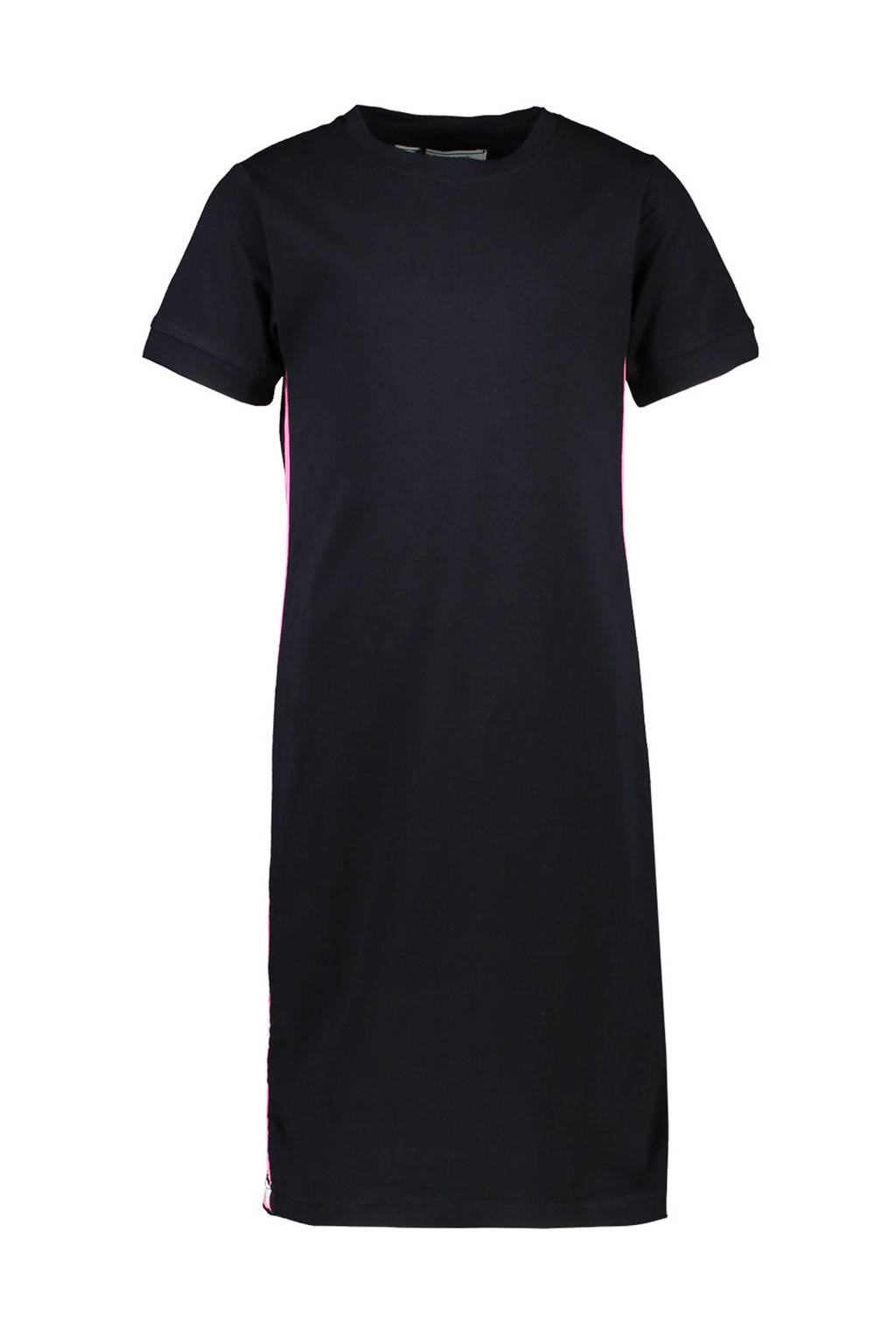 Cars jersey jurk Louann met contrastbies zwart/roze/wit, Zwart/roze/wit