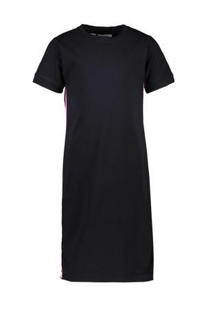 jersey jurk Louann met contrastbies zwart/roze/wit