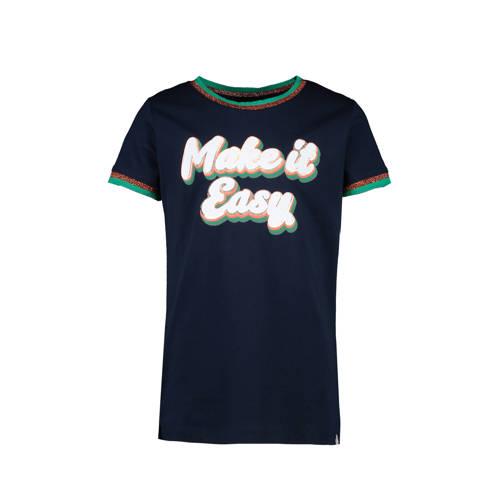 Cars T-shirt Reynosa met tekst en glitters donkerb