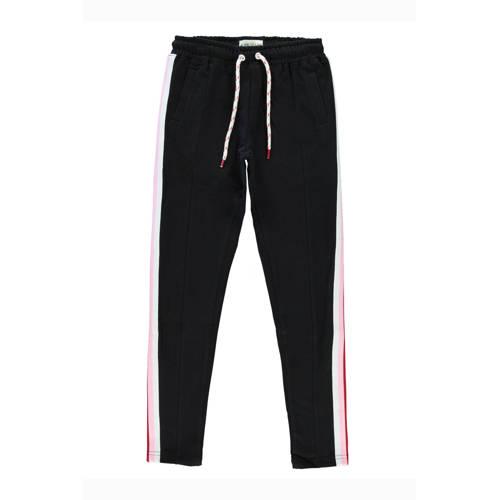 Cars tapered fit broek Carina met zijstreep zwart/