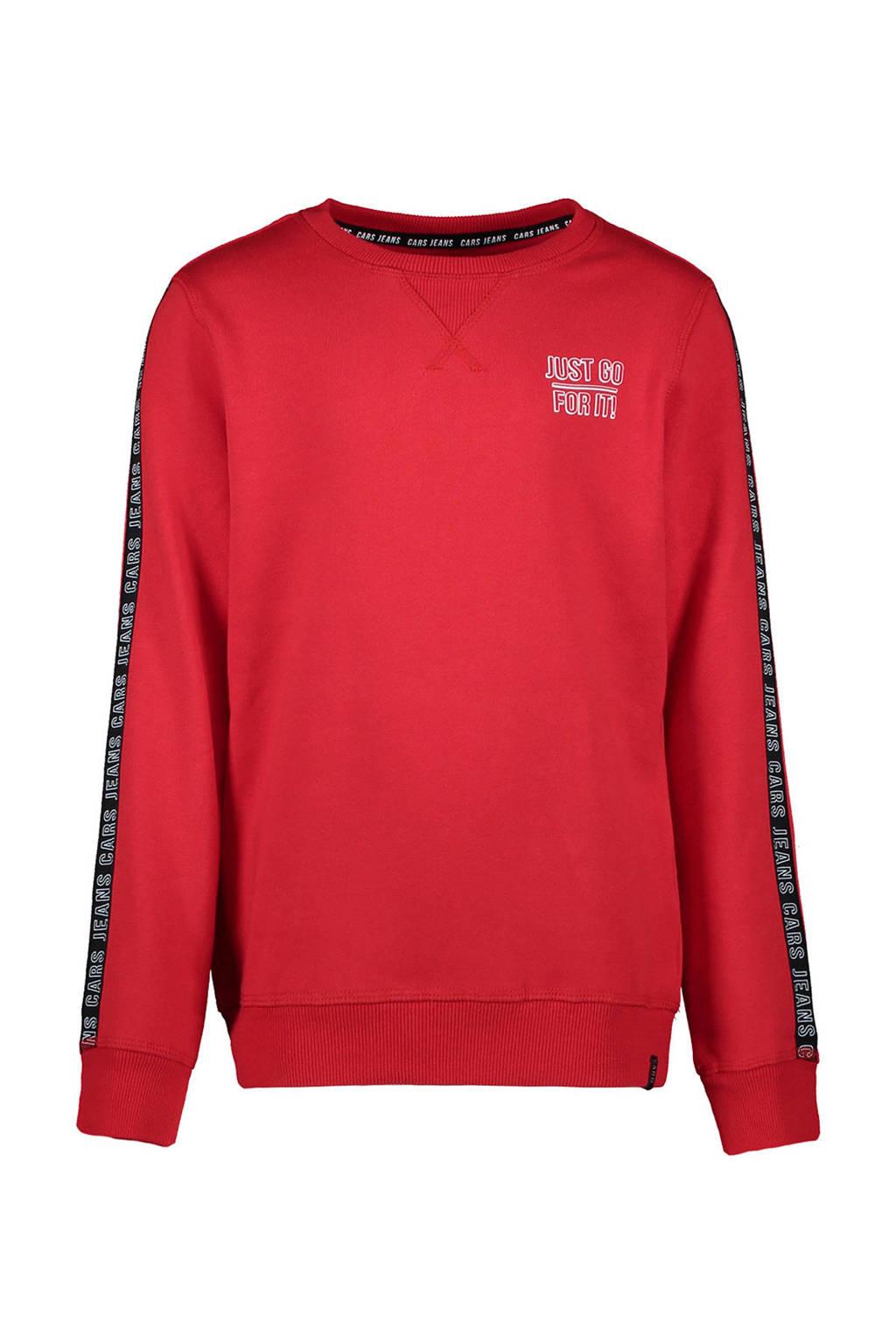 Cars sweater Wisha met contrastbies rood/zwart, Rood/zwart