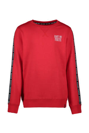 sweater Wisha met contrastbies rood/zwart