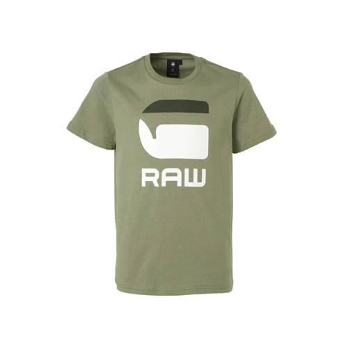 G-Star RAW T-shirt met logo kaki groen