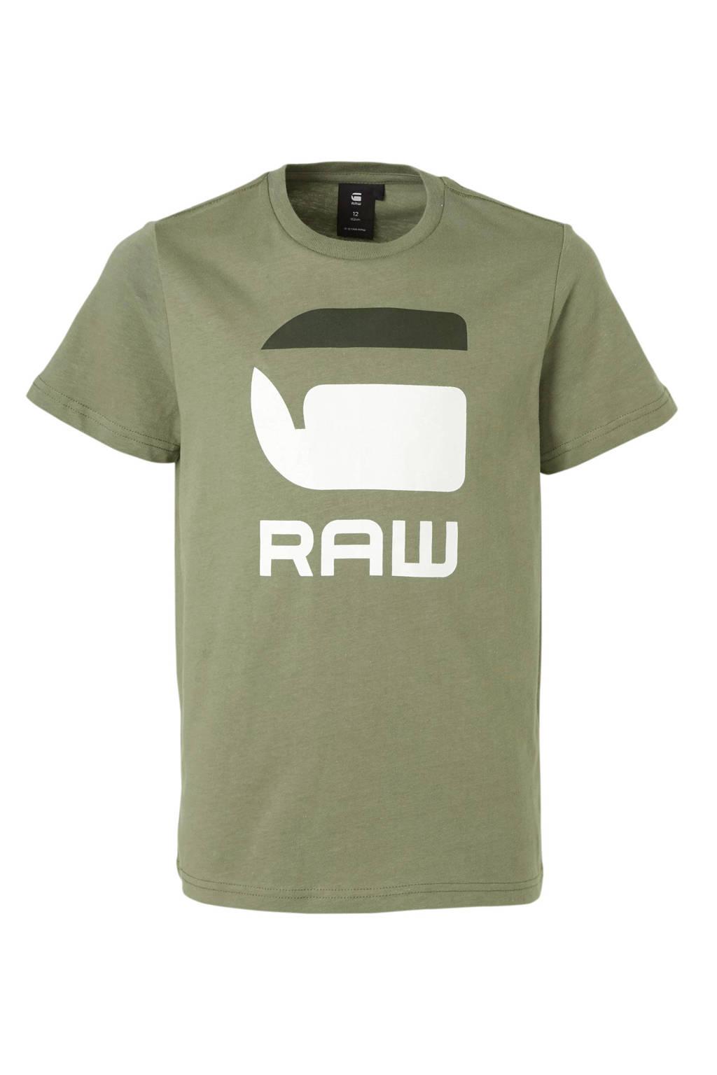 G-Star RAW T-shirt met logo kaki groen, Kaki groen