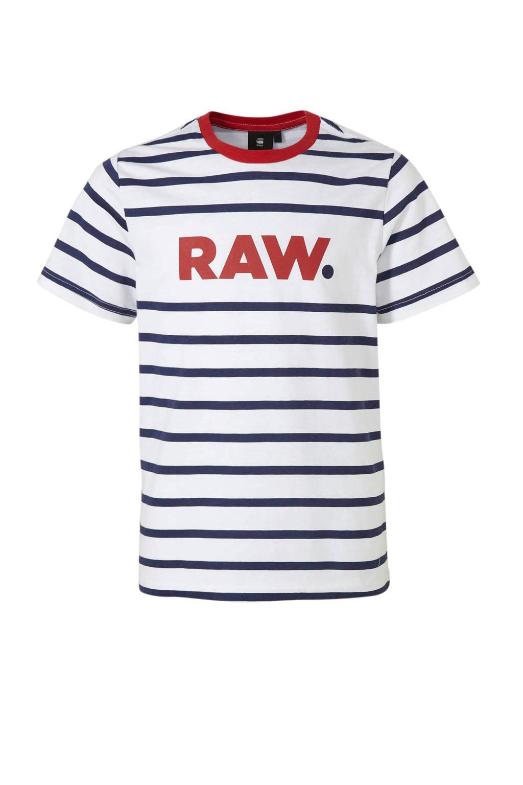 G-Star RAW gestreept T-shirt wit/blauw/rood, Wit/blauw/rood